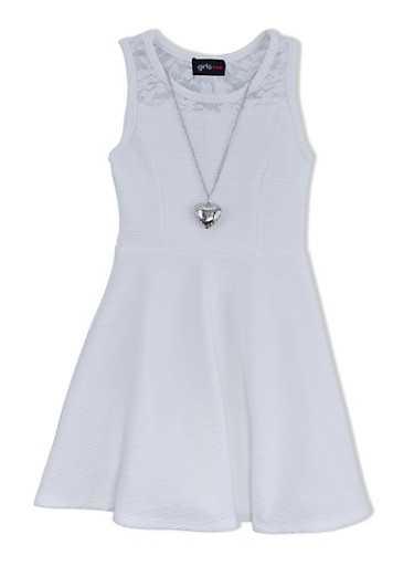 Girls 4-6x Sleeveless Skater Dress with Lace Trim and Removable Necklace,IVORY,large