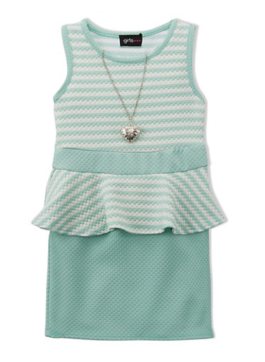 Girls 4-16 Striped Peplum Dress with Etched Heart Necklace,AQUA,large