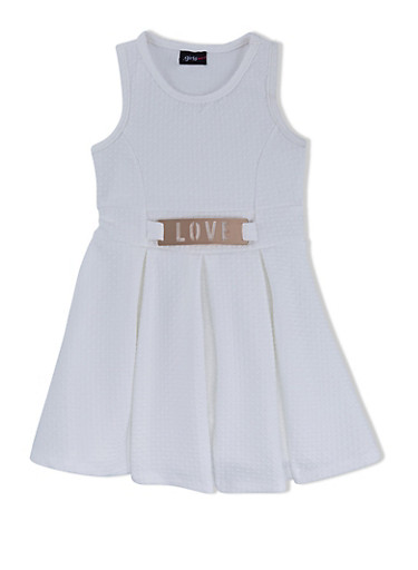 Girls 4-6x Textured Skater Dress with Laser Cut Belt,IVORY,large