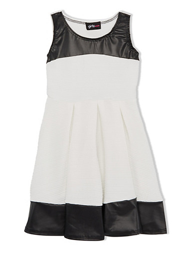 Girls 4-6x Pleated Skater Dress with Faux Leather Trim,IVORY,large