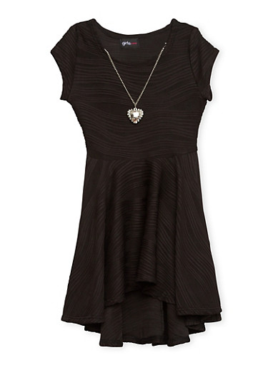 Girls 4-6x Skater Dress with Necklace,BLACK,large