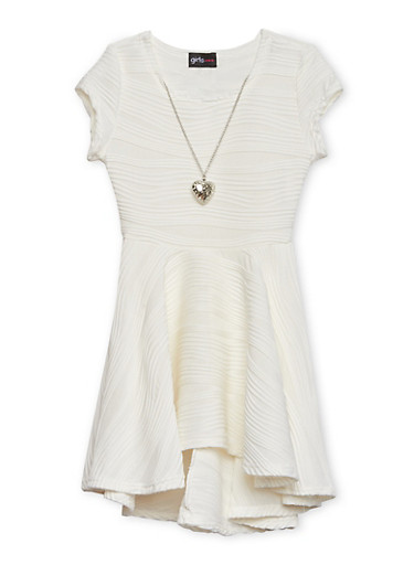 Girls 4-6x Skater Dress with Necklace,IVORY,large