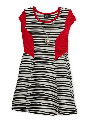 Girls 4-6x Skater Dress with Necklace,WHITE,large