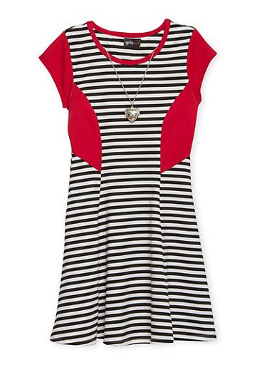 Girls 4-6x Striped Skater Dress with Heart Necklace,BLACK,large