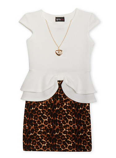 Girls 4-6x Cap Sleeve Peplum Leopard Print Dress with Necklace,IVORY,large