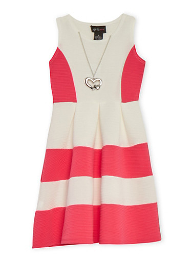 Girls 4-6x Color Block Skater Dress with Necklace at Rainbow Shops in Daytona Beach, FL | Tuggl