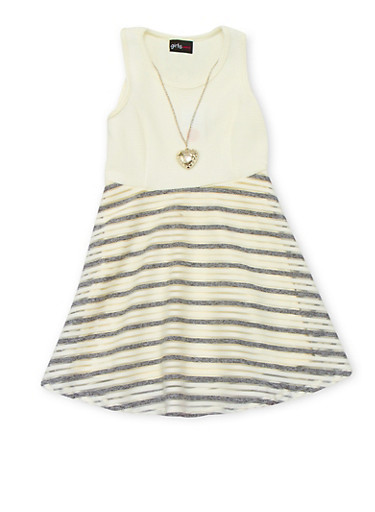 Girls 4-6x Sleeveless Shadow Stripe Dress with Necklace,IVORY,large