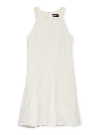 Girls 4-6x Sleeveless Lace Skater Dress,IVORY,large