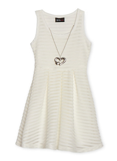 Girls 4-6x Shadow Stripe Skater Dress with Necklace,IVORY,large