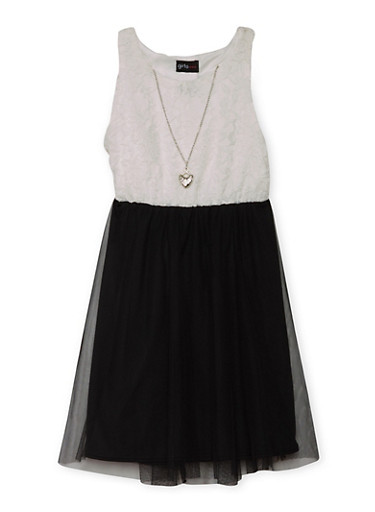 Girls 4-6x Sleeveless Lace Dress with Tulle Skirt and Necklace,BLACK,large