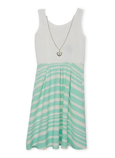 Girls 4-6x Striped Lattice Back Dress with Necklace,AQUA,large