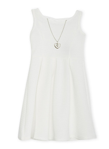 Girls 4-6x Textured Knit Skater Dress with Caged Back,IVORY,large