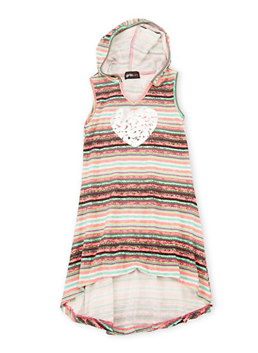 Girls 4-6X Striped Love Graphic High Low Dress with Hood,FUCHSIA,large