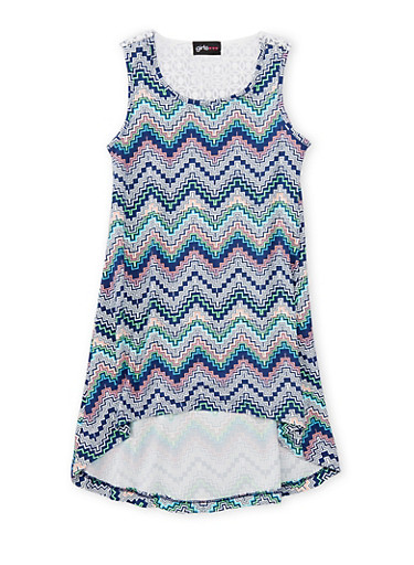 Girls 4-6x Printed High Low Dress with Crochet Detail,NAVY,large