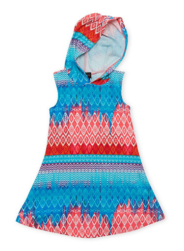 Girls 4-6x Printed Tank Dress with Hood,PINK,large