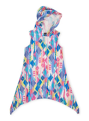 Girls 4-6x Multicolored Sharkbite Dress with Hood,PINK,large