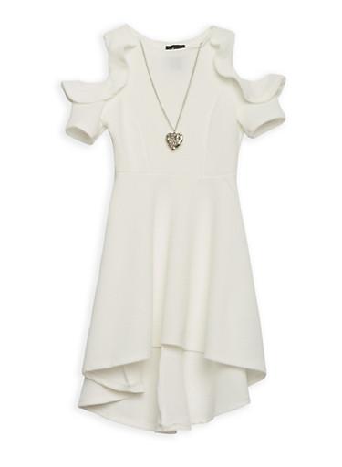 Girls 4-6x Cold Shoulder Skater Dress with Necklace,IVORY,large