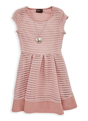 Girls 4-6x Striped Mesh Skater Dress with Necklace,MAUVE,large