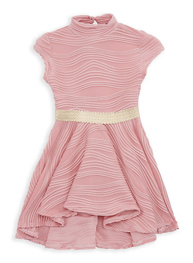 Girls 4-6x Textured Knit Skater Dress,MAUVE,large