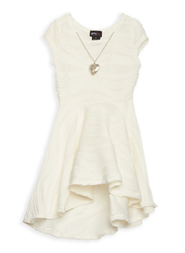 Girls 4-6x Textured Knit Skater Dress with Necklace,IVORY,large