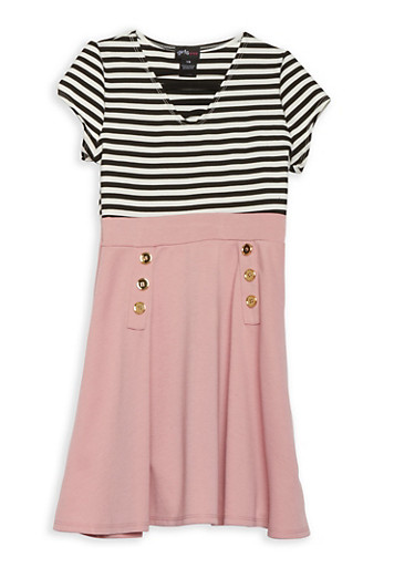 Girls 4-6x Striped Skater Dress,MAUVE/BLK-WHT,large