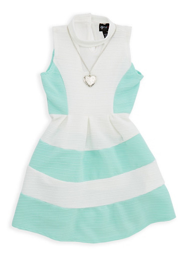 Girls 4-6x Textured Knit Skater Dress with Necklace,AQUA/IVY,large