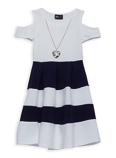 Girls 4-6x Color Block Skater Dress with Necklace,NAVY/IVY,large