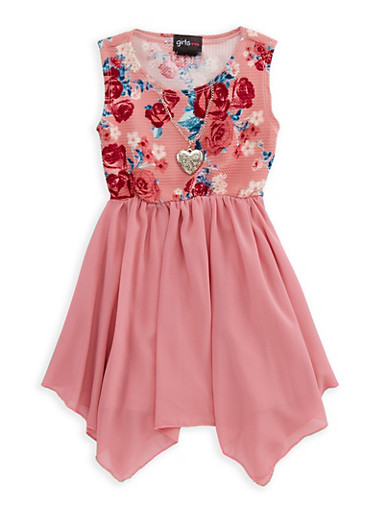 Girls 4-16 Floral Skater Dress with Necklace,MAUVE,large