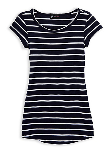 Girls 4-6x Striped T Shirt Dress,NAVY/WHT,large