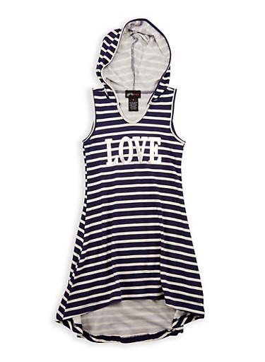 Girls 4-6x Striped Graphic Hooded Dress,NAVY,large