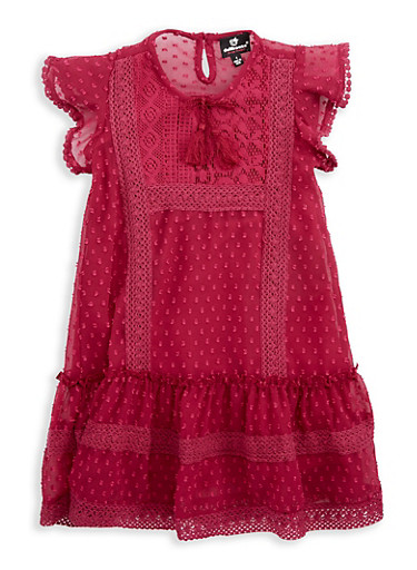 Girls 4-6x Swiss Dots Crochet Trim Dress,WINE,large