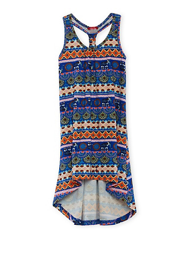 Girls 4-6x Printed Dress with Racerback and High Low Hem,,large