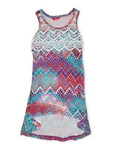 Girls 4-6x Printed Dress with Lace Overlay,PURPLE MULTI,large