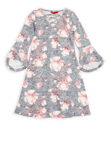 Girls 4-6x Floral Bell Sleeve Dress,GREY,large