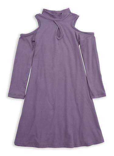 Girls 4-6x Purple Cold Shoulder Dress,PURPLE,large
