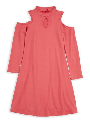 Girls 4-6x Rose Cold Shoulder Dress,ROSE,large