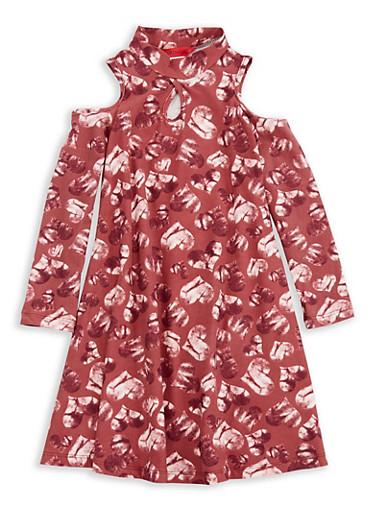 Girls 4-6x Heart Printed Cold Shoulder Dress,MAUVE,large