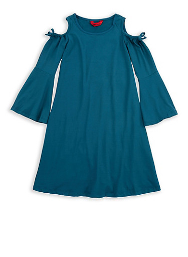 Girls 4-6x Soft Knit Cold Shoulder Dress,TEAL,large