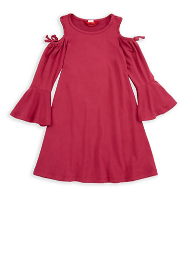 Girls 4-6x Bell Sleeve Cold Shoulder Dress,WINE,large