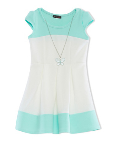 Girls 4-6X Cap Sleeve Textured Knit Color Block Skater Dress With Detachable Necklace,MINT,large