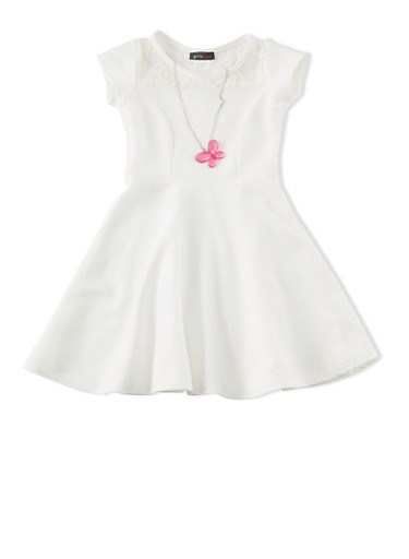 Girls 4-6X Textured Knit Cap Sleeve Skater Dress with Lace Yoke and Necklace,IVORY,large