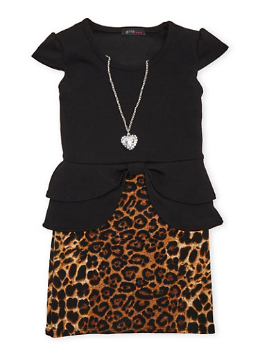 Girls 4-6x Peplum Dress with Leopard Print Skirt and Necklace,BLACK,large