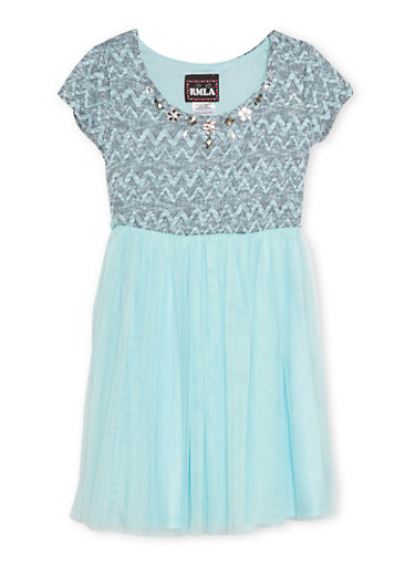 Girls 7-14 Jeweled Knit Dress with Tulle Skirt,AQUA,large