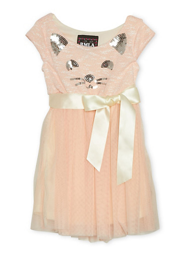 Girls 7-14 Sequin Cat Dress with Tulle Skirt and Bow,BLUSH,large