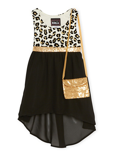 Girls 7-14 High Low Dress with Leopard Print and Purse,BLACK,large