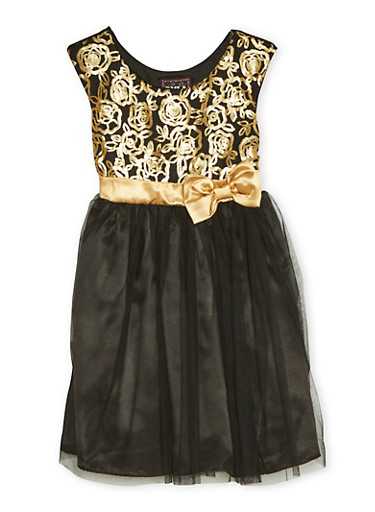 Girls 7-14 Sleeveless Dress with Sequins and Mesh,BLACK,large