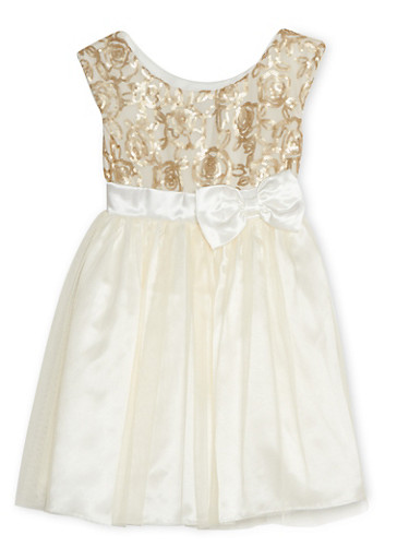 Girls 7-14 Sequin Dress with Tulle Skirt and Bow,IVORY,large