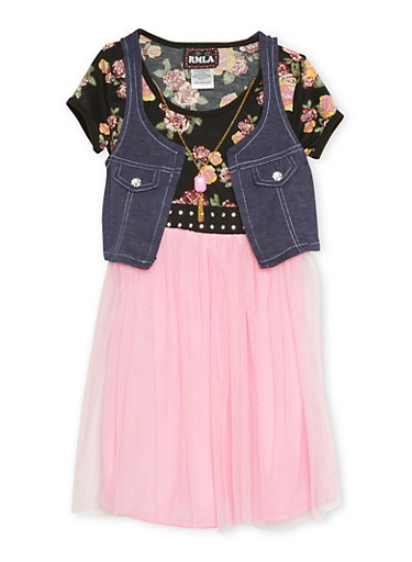 Girls 7-14 Dress with Attached Vest and Faux Necklace,BLUSH,large