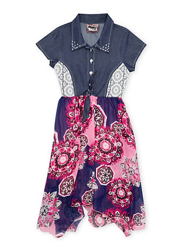 Girls 7-14 Denim and Printed Dress with Tie Waist,PINK,large