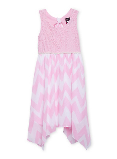 Girls 7-16 Lace Dress with Chevron Skirt and Pearl Trim,PINK,large